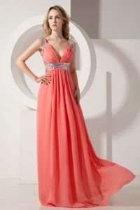 Watermelon V-Neck Straps Floor-Length Pageant Dress with Cutout Waist in Alaska