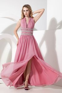 Halter Floor-Length Rose Pink Ruched Girl Pageant Dresses with Slit and Beading
