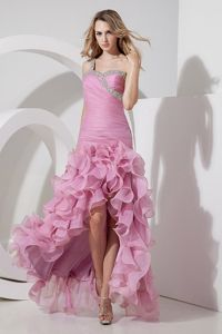 Rose Pink One-Shoulder Ruched Beaded High-Low Pageant Dresses with Ruffles