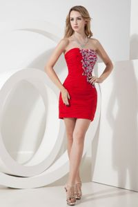 Hot Red Mini-Length Strapless Appliqued Pageant Dresses with Ruching in Langley