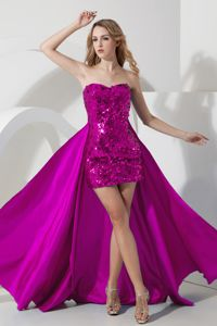 Fuchsia Sweetheart Mini-Length Sequin Girl Pageant Dress with Detachable Train