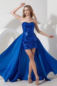 Royal Blue Mini-Length Sweetheart Sequin Pageant Dresses with Detachable Train