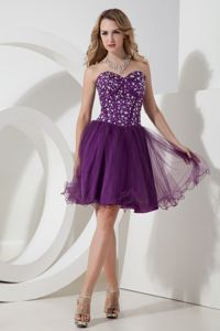 Eggplant Purple Short-Length Sweetheart Pageant Dresses for Girls with Beading