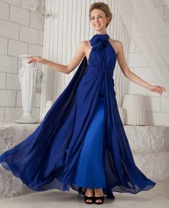 Royal Blue Halter Neck Floor-Length Pageant Dresses for Prom with Watteau Train