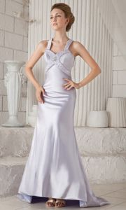 Lilac Brush Train Straps Sheath Beaded Pageant Dresses with Criss Cross Back