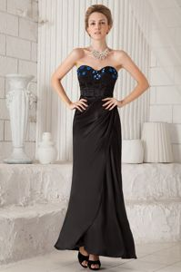 Black Column Sweetheart Ankle-Length Beauty Pageant Dresses with Appliques