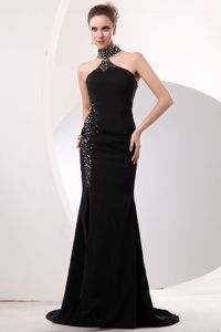Black High Jeweled Neck Mermaid Beauty Pageant Dresses with Beading and Slit