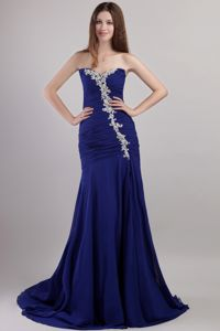 Royal Blue Court Train Strapless Ruched Pageant Dress with Appliques in Ottawa
