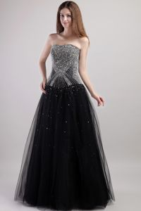 Strapless A-Line Floor-Length Black Beaded Pageant Dress Patterns in Clarington