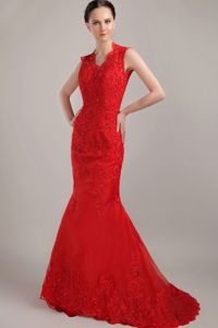 Special V-neck Red Brush Glitz Pageant Dresses with Lace and Cool Back