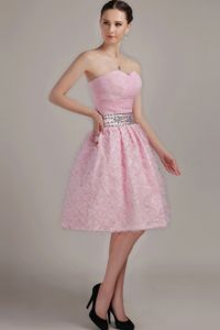 Lovely Pink Sweetheart Short Pageant Dresses For Girls with Beaded Waist