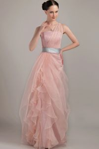 Romantic Light Pink One Shoulder Girl Pageant Dresses with Belt and Ruffles