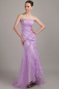 Perfect Mermaid Strapless Brush Train Interview Pageant Suits in Lilac Tulle