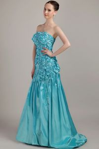 Hot Sale Turquoise Strapless Brush Train Pageant Girl Dress with Appliques