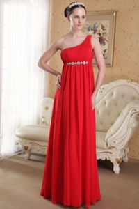 Elegant Red One Shoulder Floor-length Pageant Dresses with Beaded Waist