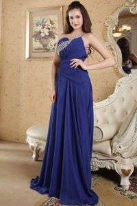 Backless Royal Blue One Shoulder Brush Pageant Girl Dresses with Beading