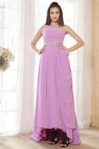 Unique Single Shoulder High-low Lavender Girl Pageant Dress with Beading