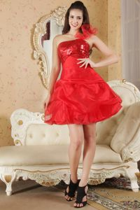 Cute One Shoulder Red Short Girl Pageant Dress with Sequins and Pick-ups