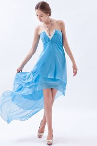 Lovely Baby Blue Beaded V-neck High-low Girl Pageant Dress with Beading