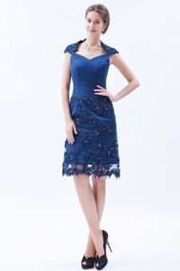 Special Square Ruched Blue Knee-length Beauty Pageant Dresses with Lace