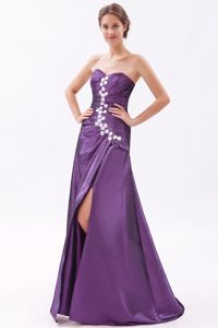 Elegant Sweetheart Purple High Slit Pageant Dresses For Girls with Appliques