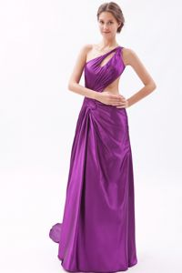 Unique Backless Purple One Shoulder Watteau Dresses For Pageants in Nj