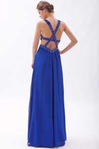 Sexy Royal Blue High Slit Long Interview Pageant Dress with Beaded Cross