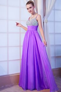 Popular Lavender Floor-length Pageant Dress For Girl with Beading in Alloa