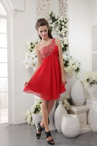 Elegant Red Beaded One Shoulder Short Pageant Dresses For Girls in Katy
