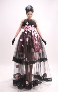 Exclusive Ruffled Strapless Black Long Pageant Dresses with Pink Appliques