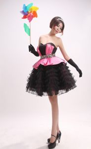 New Arrival Sweetheart Short Black and Pink Pageant Dresses with Ruffles