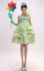 New One Shoulder Yellow Green Girl Pageant Dress with Flower and Ruffles
