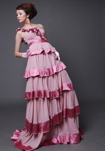 Hot Sale Flowers One Shoulder Pink Brush Pageant Girl Dresses with Layers
