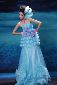 Cute Light Blue Strapless Youth Pageant Dress with Bow and Ruffles in Katy