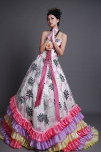 Colorful Strapless Brush Pageant Girl Dresses with Ruffles and Flower in Erie
