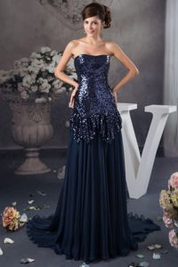 Sexy Strapless Navy Blue Court Train Pageant Dresses For Girls with Sequin