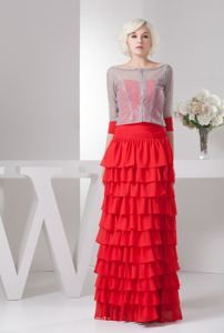 Hot Sale Strapless Red Full-length Interview Pageant Suit with Ruffle-layers