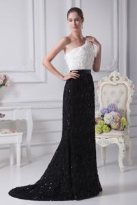 Special White and Black One Shoulder Pageant Dresses with Florals in Katy