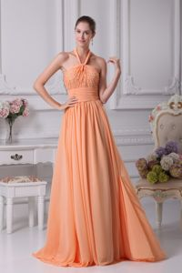 New Arrival Peach Beaded Haler Floor-length Dresses For Pageants in Nj