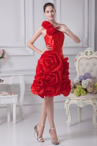 Luxurious Red One Shoulder Girl Pageant Dress with Rolling Flowers in Katy