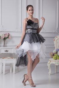 High-low Black and White One Shoulder Interview Pageant Suits with Ruffles