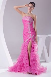 Popular Hot Pink Appliqued Strapless Pageant Dress with Ruffles Slit in Kent