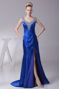 Elegant Royal Blue High Slit Beaded Pageant Girl Dress with Straps in Alloa