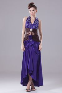 Wholesale Halter Purple High-low Beaded Pageant Dress with Cutout in Duns