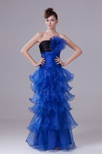 Special Strapless Blue Long Beauty Pageant Dresses with Flower and Layers