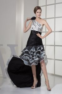 High-low White and Black One Shoulder Interview Pageant Suits with Ruffles