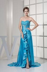 Cute Aqua Blue Sweetheart Brush Pageant Girl Dress with Ruffles Slit in Erie