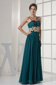 New Turquoise Ruched Long Prom Pageant Dress with Flowers and Straps