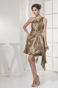 Brand New Leopard Watteau One Shoulder Girl Pageant Dress with Beading
