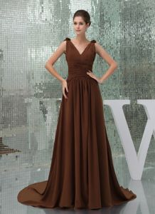 Wholesale V-neck Brown Court Girl Pageant Dresses with Ruche and Flower